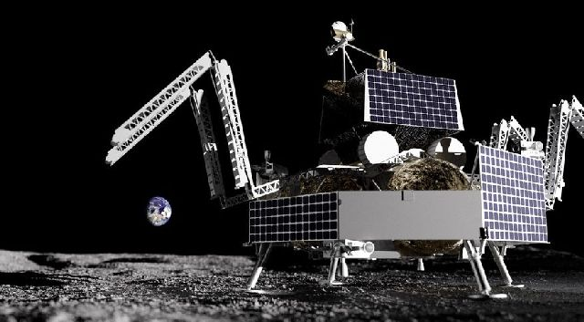 Astrobotic will deliver the VIPER rover, seen in this illustration atop the company's Griffin lunar lander, to the south polar region of the moon in late 2023 under a CLPS task order valued at $199.5 million. Credit: Astrobotic
